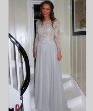 2016 Vintage Silber Farbe Abendkleid Mit Applikationen Lange Chiffon Abendkleid Benutzerdefinierte vestido de festa gala jurken