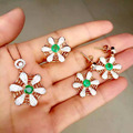 Natural green emerald gem jewelry sets natural gemstone ring Pendant Earrings 925 silver Stylish Network Fan women jewelry