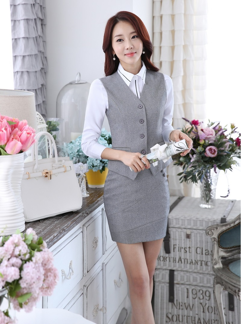 1a8e7987813 ... OL Blazers Women Outfits Sets · Novelty Grey 2015 Spring Autumn Uniform  Styles Business Work Suits Vest + Skirt Ladies Office Outfits