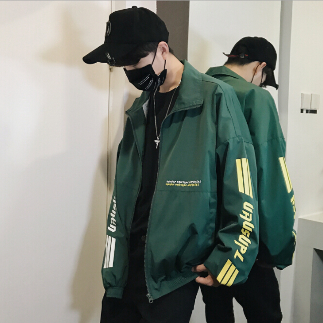 2018 new spring and autumn Hong Kong style youth loose letter print coat fashion streetwear hip hop jacket casual men's jackets