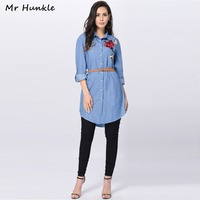Mr Hunkle New Design Elegant Sping Demin Dress Sashes Embroidery Casual Autumn High Quality Woman Jean