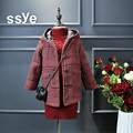High Quality 2016 Baby Girls Wool Coats Fashion England Style Plaid Hooded Children Winter Outwear Kids Long Jackets For 2-7Year