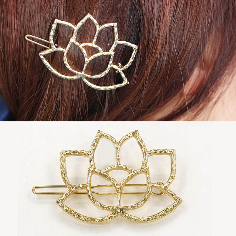 Metal Golden Alloy Lotus Flower Hair Clips & Pins Headwear Hair Accessories For Women