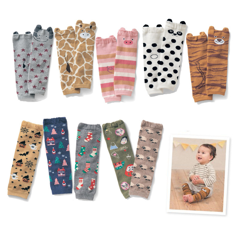 Lovely 1 Pair Baby Leg Warmers Cartoon Pattern Knee Pads Cozy Soft Baby Socks Knee Protectors For Babies
