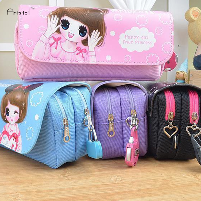 Cute School Pencil Case With Lock PU Korean Stationery Accessories School Penalty Flower Girl Pen Bag cute girl penalty pencil case with lock big capacity pu korean stationery for girls pen bag pouch pencilcase school supplies