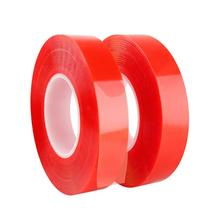 10m Red Double Sided Adhesive Tape For Car Auto Interior Fixed High Strength Acrylic Gel Transparent No Traces Sticker