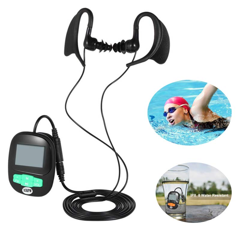 Newest 4G 8GB IPX8 Diving Swimming MP3 Waterproof Player Earphone Underwater Surf Sports Swim Mini Headset FM Radio Screen MP3 mp3 плеер ime 2015 mp3 8gb mp3 fm ipx8 waterproof mp3 player