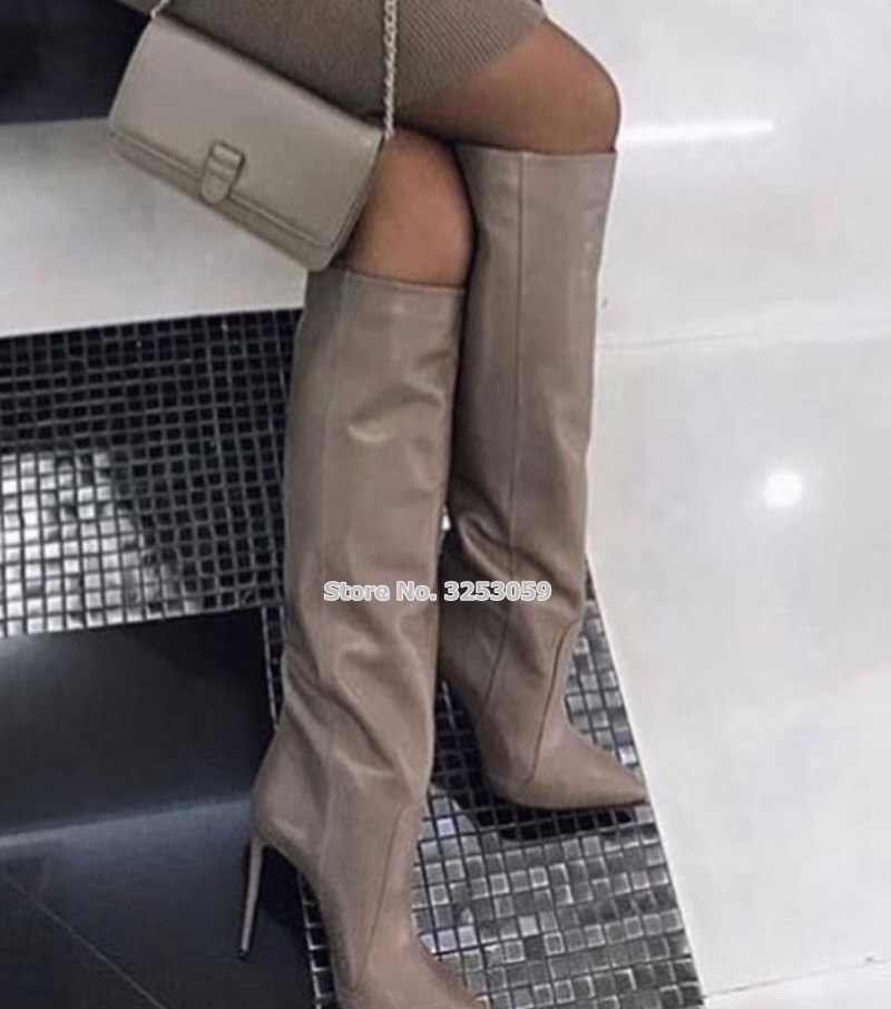 bac8ed6f2660 ALMUDENA Women Coffee Leather Stiletto Heels Knee High Boots Pointed Toe  Vogue Street Dress Shoes Tall