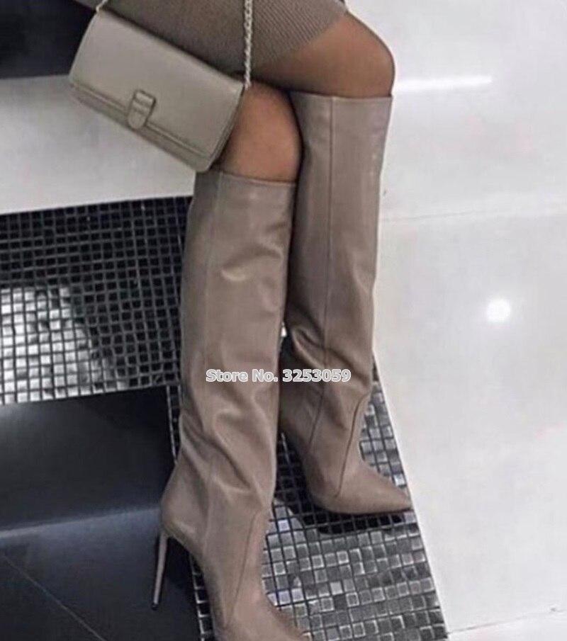 ALMUDENA Café Mulheres Dos Saltos de Estilete de Couro Joelho Botas Altas Apontou Toe Moda de Rua Vestido Sapatos Botas de Cano Alto Gladiador Bota Longa