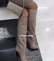 ALMUDENA Frauen Kaffee Leder Stiletto Heels Knie Hohe Stiefel Spitz Vogue Straße Kleid Schuhe Hohe Stiefel Gladiator Lange Boot-in Kniehohe Stiefel aus Schuhe bei