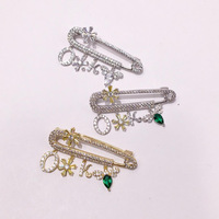 Flower and Letter Charms Brooch Pins For Women Fashion Luxury Crystal and CZ Prong Setting Dress Accessories Gift Brooch