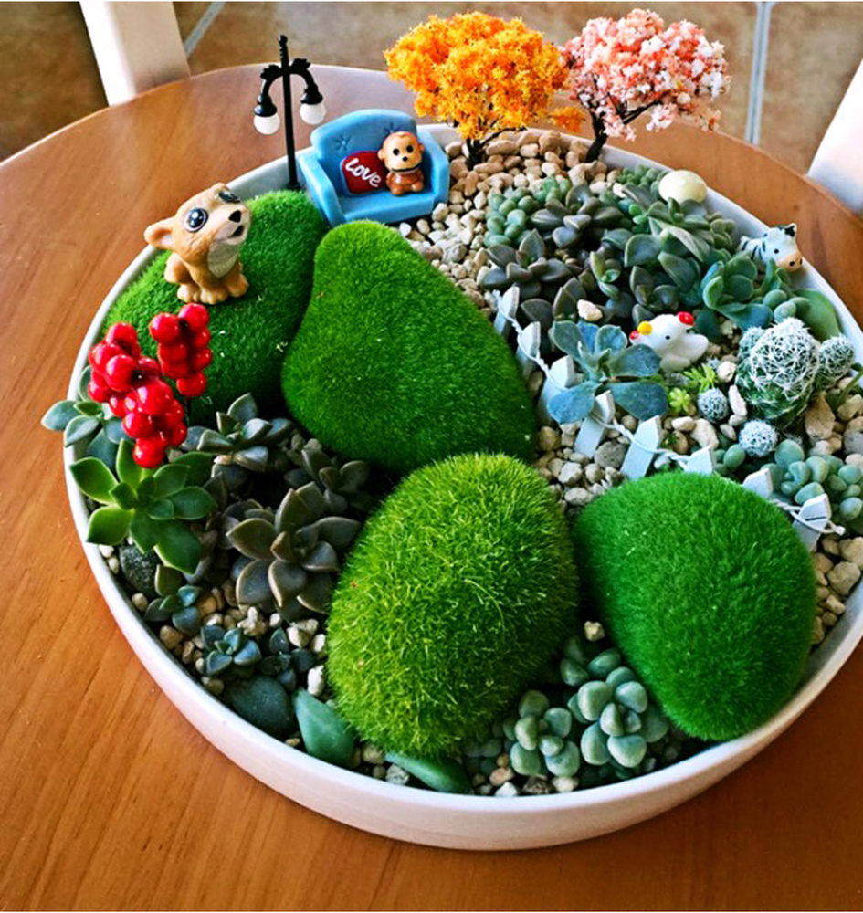 Foam Moss Grass Artificial Plant Decorative Micro Landscape Stone Love Potted Plants Flower Phalaenopsis Accessories 3 Size Choose In Dried Flowers