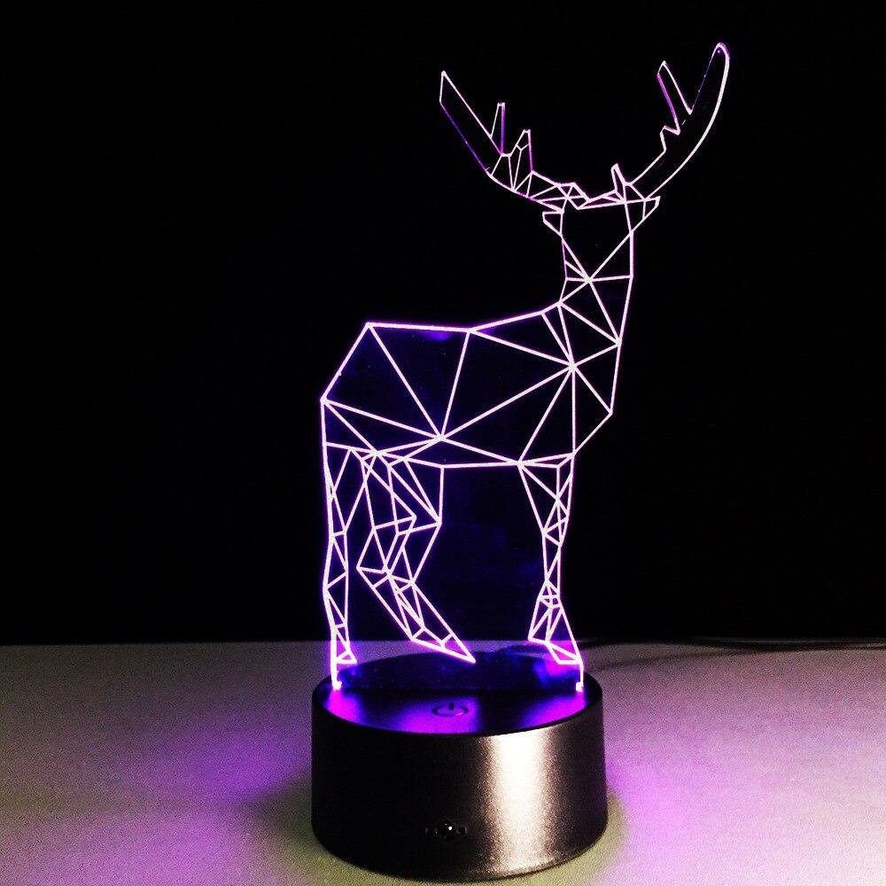 2019 Yenilik 3D Görsel Led Gece Lambası Ren Geyiği Şekli USB Masa - Gece Lambası - Fotoğraf 4
