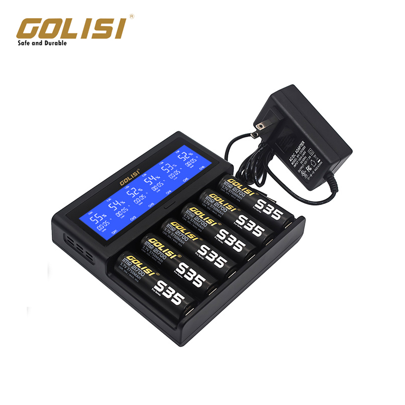Original GOLISI S6  Intelligent Charger Big LCD Display Compatible With Ni-mh/ Ni-cd, And 3.6V/3.7V Cylindrical For 6 Battery
