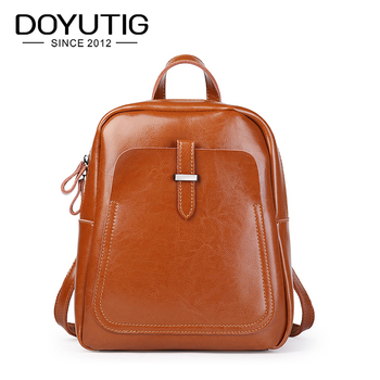 DOYUTIG Women Classical Backpack Genuine Leather School Backpack For Teenage Girl Casual Large Capacity Double Shoulder Bag E169