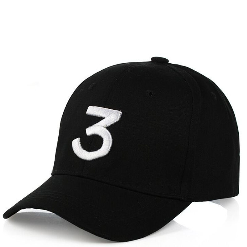 2 Colors White Black Embroidery 3 Snapback The Rapper Hat  Adjustable Women Men Baseball Cap Hip Hop Fashion Dad Hat Bone hat 2016 men women strapback snapback baseball cap adjustable hat black white pink color one size