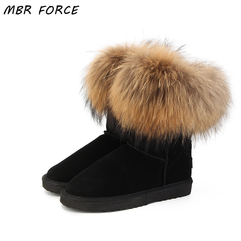 MBR FORCE Fashion Women's Natural Real Fox Fur Snow Boots 100% Genuine Cow Leather  Women Boots Female Warm Winter Boots Shoes