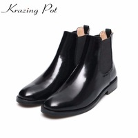 Krazing Pot cow leather low heels gladiator round toe Hollywood European Chelsea boots plus size streetwear nude boots L83