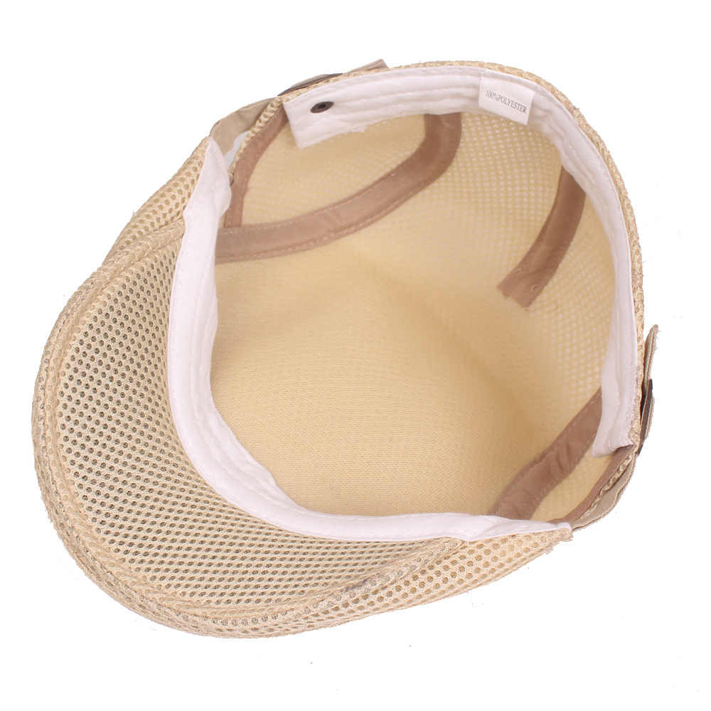 GEERSIDAN Summer Mesh Beret Hat Men Outdoor Visor Peaked Caps Breathable Bone Male Ivy Flat Cap Adjustable Sun Hat Berets Boina