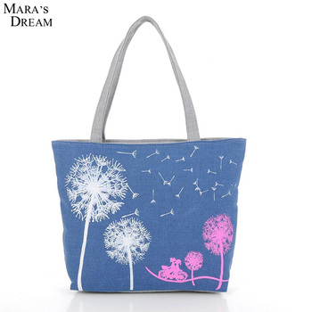 New Fashion Canvas Printed Flowers Zipper Women Handbag