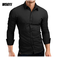 Men Shirt 2017 Male High Quality Long Sleeve Shirts Brand Casual Solid Color Business Slim Fit
