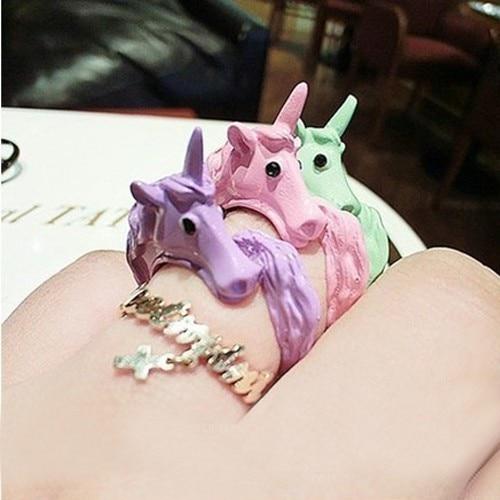 Lovely Candy Color Korean Unicorn Finger Ring Enamel Horse Party Rings For Women