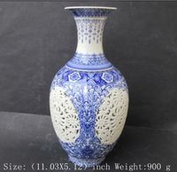 Exquisite Antique Chinese Classical porcelain hollow out vase ,painted with two birds and flowers