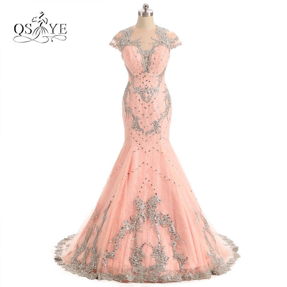 Pêche rose longue sirène robes de bal 2017 Robe de soirée Sexy Transparent dos argent dentelle perlée dentelle Robe de soirée