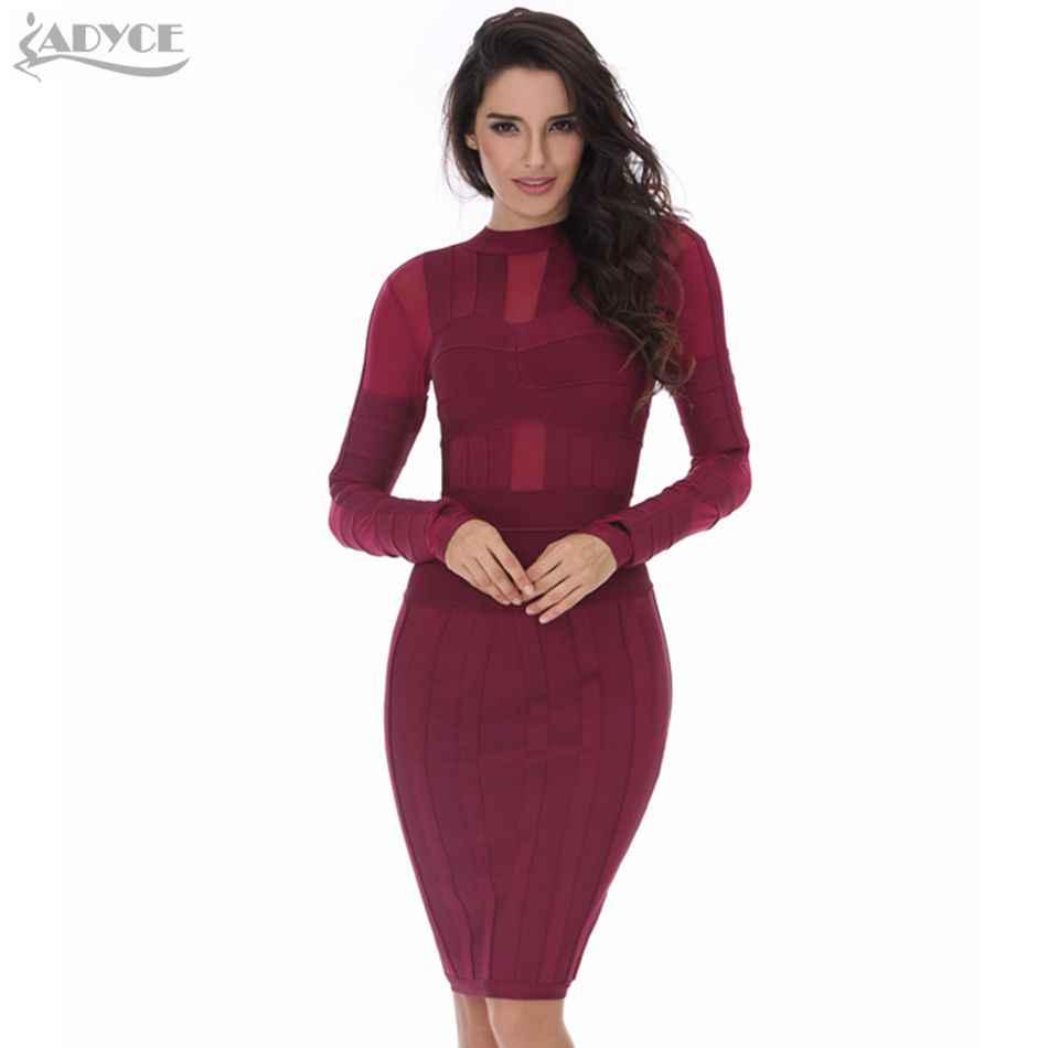fb31c443219 2018 новое летнее платье женское платье сексуальное облегающее красное вино  с длинным рукавом Сетчатое Бандажное платье