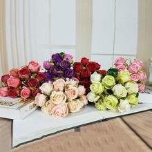 2019 NEW Artificial Flowers 12 Roses High-grade Crepe Fake Flower Bride Wedding Photography Diy Hand Bouquet Sztuczne Kwiaty