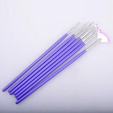 Pandahall 7pcs/set Purple Nail Art Design Brush DIY Painting Dotting Brushes Pen Set Manicure Tools