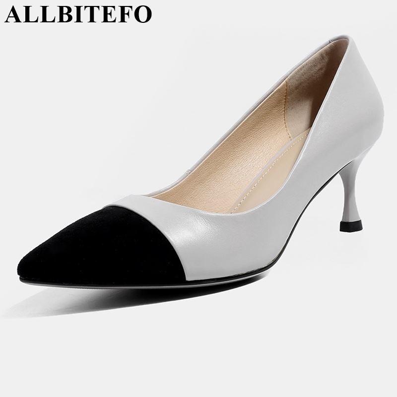 ALLBITEFO genuine leather high heel shoes women heels fashion spring autumn pointed toe shoes casual comfortable slip-on shoesALLBITEFO genuine leather high heel shoes women heels fashion spring autumn pointed toe shoes casual comfortable slip-on shoes