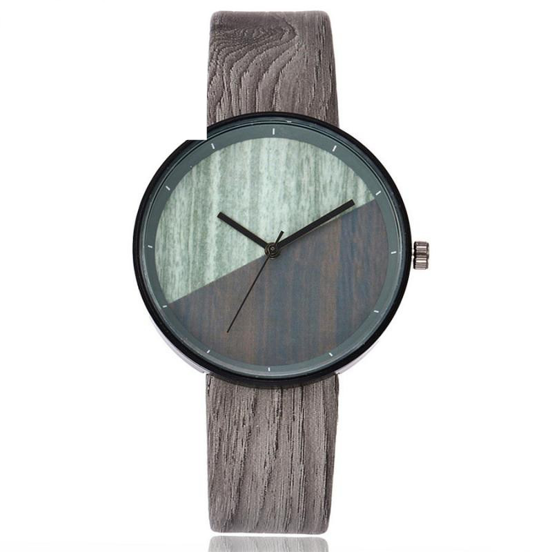 Retro Design Women's Leather Casual Watches Unisex Military Clock Ladies Elegant Wood Grain Dial Quartz Wrist Watch Business #JO xiniu retro wood grain leather quartz watch women men dress wristwatches unisex clock retro relogios femininos chriamas gift 01