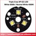 Трехместный Cree XP-G2 белый 6500K нейтральный белый 4500K светодиодный излучатель с медной печатной платой 20 мм светодиодный фонарик