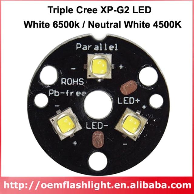 Triple Cree XP-G2 White 6500K Neutral White 4500K LED Emitters with 20mm Copper PCB for LED Flashlight