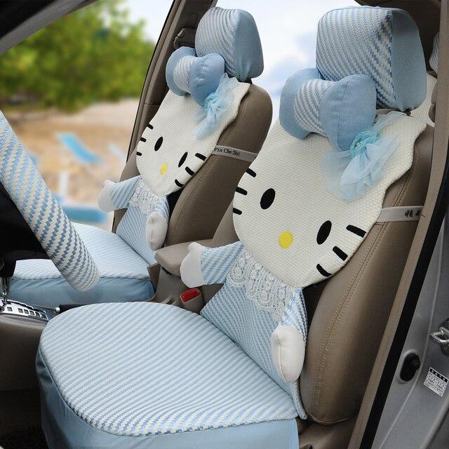 Hello Kitty 12pcs Ice Silk Light Blue 3d Cartoon Car Seat