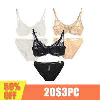 3 Piece Plus Size Lace Lingerie Set Push up brassiere Sexy Lace Underwear thin cup Transparent intimate Women Underwear
