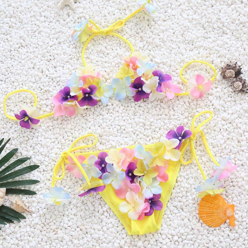 0c600b4985a43 Handgemachte Floral Badeanzug Für Mädchen Zwei Stück Kinder Bademode 2019  Kinder Rosa Schwimmen Anzug Nette Halter Baby Beachwear ...