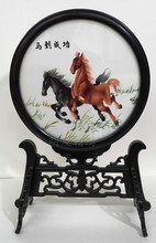 Suzhou Embroidery Ebony Frame Base Decoration Ornaments Double-side Table Screen Crafts High End Chinese Gifts