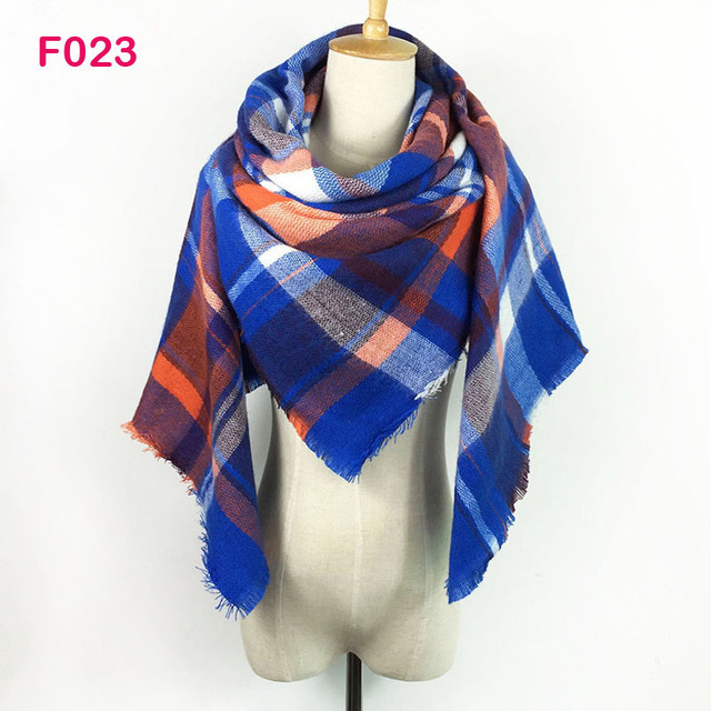 Gorgesonline Design Fashion Plaid Scarf Shawl Acrylic Winter Warmer Wrap Pashmina Square Oversize Tartan Blanket Women Scarf 1