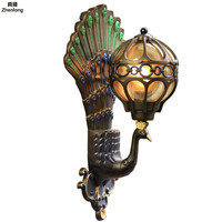 European Waterproof Peacock Wall Light Outdoor Corridor Retro Villa Lights E27 Led Bulb Garden Modern Led Wall Lamp Decor Led