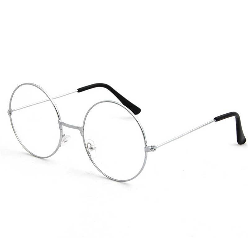 Homem de Ouro Óculos De Armação de óculos Vintage Retro Rodada Plana de Vidro Liso Óculos Claros Armações de Óculos de Olho Para As Mulheres Homens 6 cores