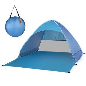 Image 2 - Lixada otomatik anında Pop Up plaj çadırı hafif açık UV koruma kamp balıkçı çadırı Cabana güneş barınak