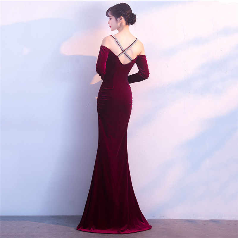 7bb2b304c0762d ... Corzzet Vestidos De Festa Party Night Club Dresses Off-shoulder Wine  Red Velvet Full Sleeve ...