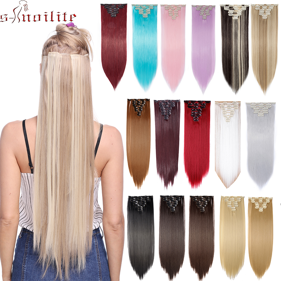"S-noilite 26"" 8pcs Long Straight Women Clips in Hair Extension Synthetic Hairpiece Haistyle Heat Resistant White Red Purple"