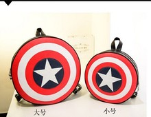 1 piece Mochila Femininas star strip PU Leather Backpack Vintage School Bag Shield Round Captain America 2 sizes цена 2017