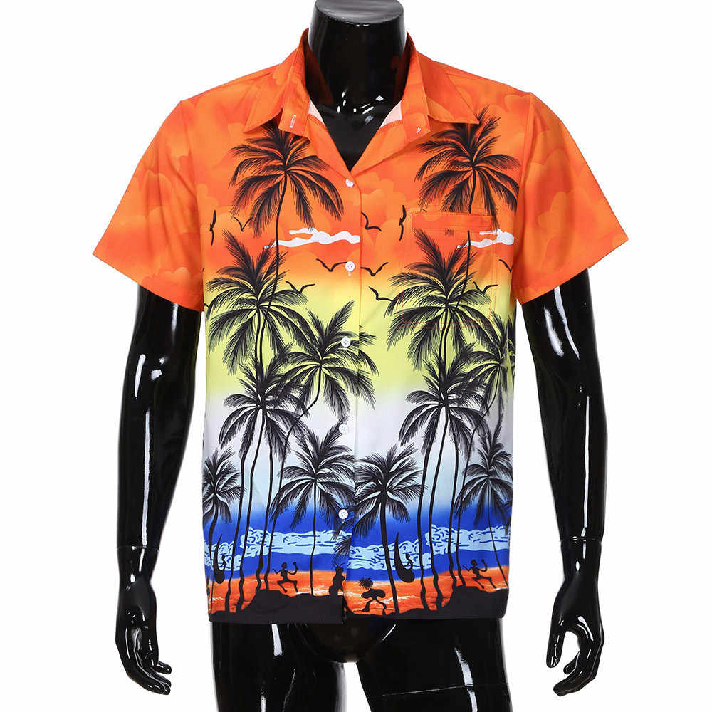 ff33a77e9bd8 Men Hawaiian Shirt Short Sleeve Front-Pocket Beach Floral Printed Blouse  Top Tee Camisa Masculina