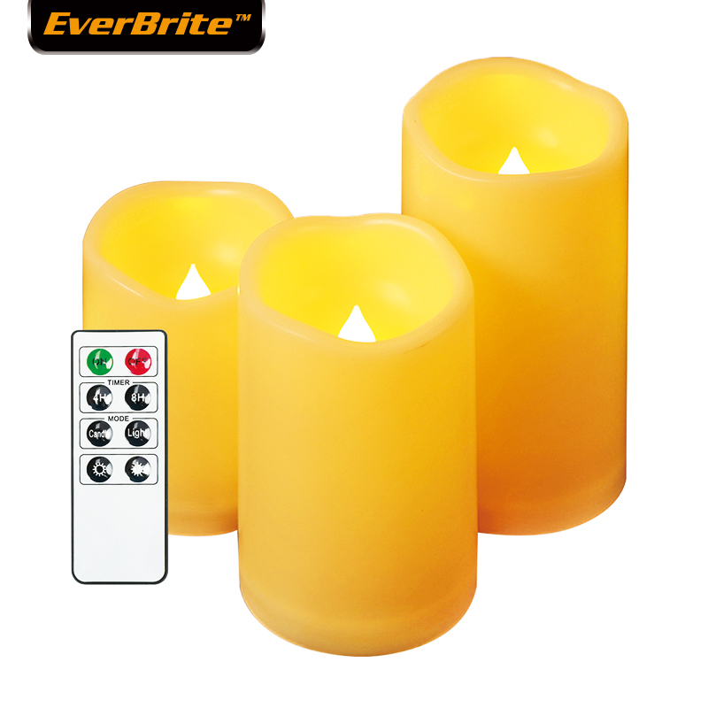 EverBrite Flameless LED Candles Flickering Candles 3PC With Remote Control And Timer For Bathroom Kitchen Home Decoration