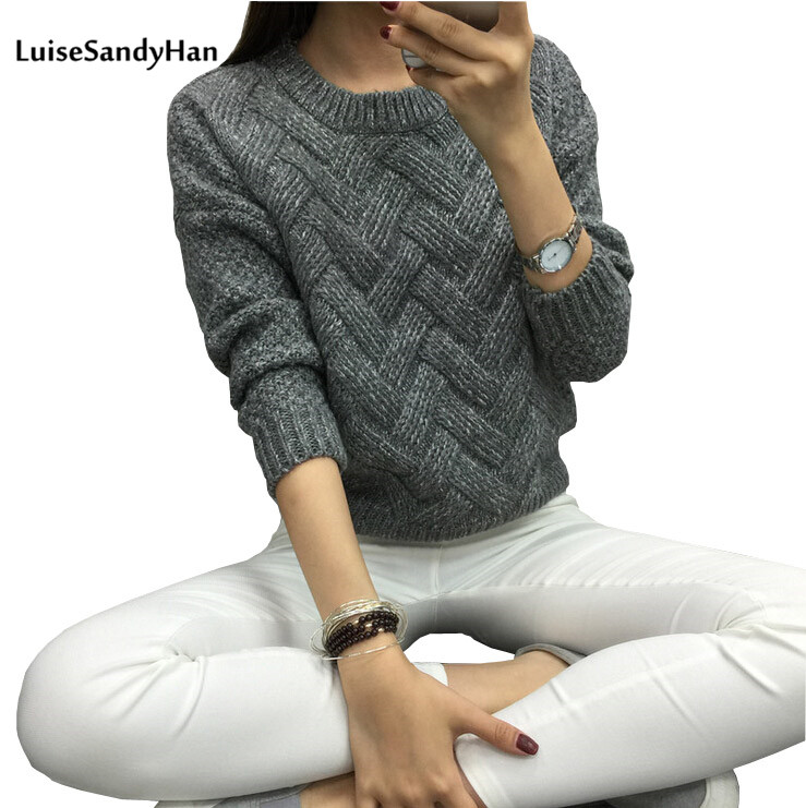 LuiseSandyHan 2018 Women Pullover Female Casual Sweater Plaid O- պարանոց աշուն և ձմեռային ոճ