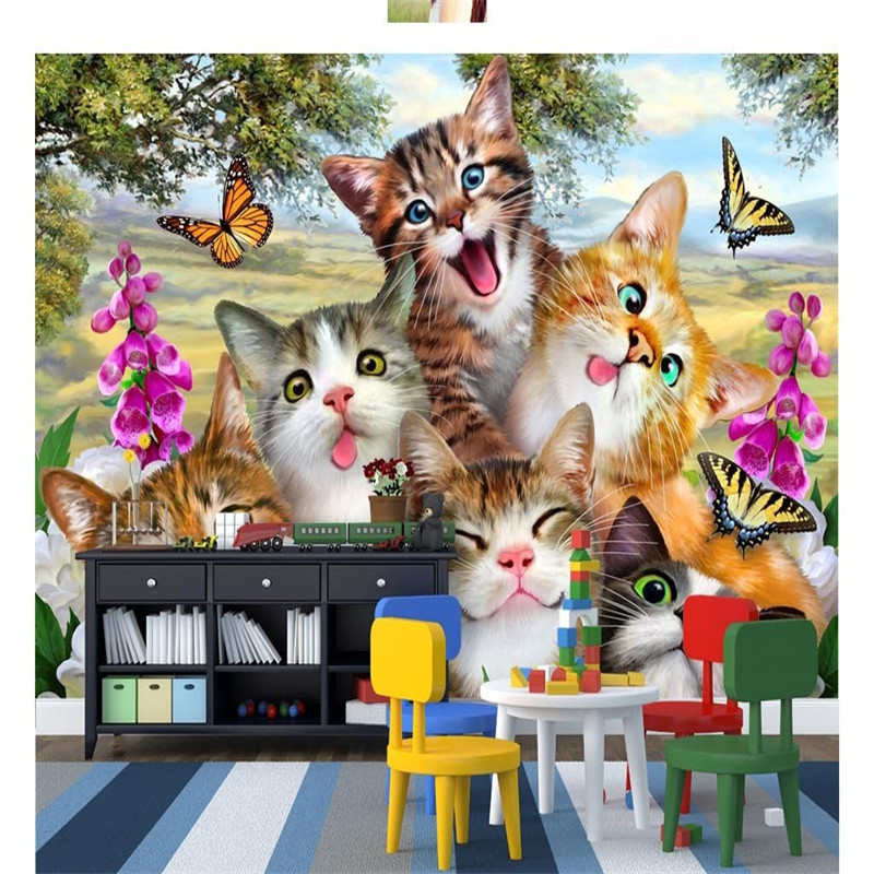 цены на 3D Custom Cartoon Cats Wallpapers HD Nature Landscape Murals Kids Walls Papers for Children Room Living Room Home Decor Painting в интернет-магазинах